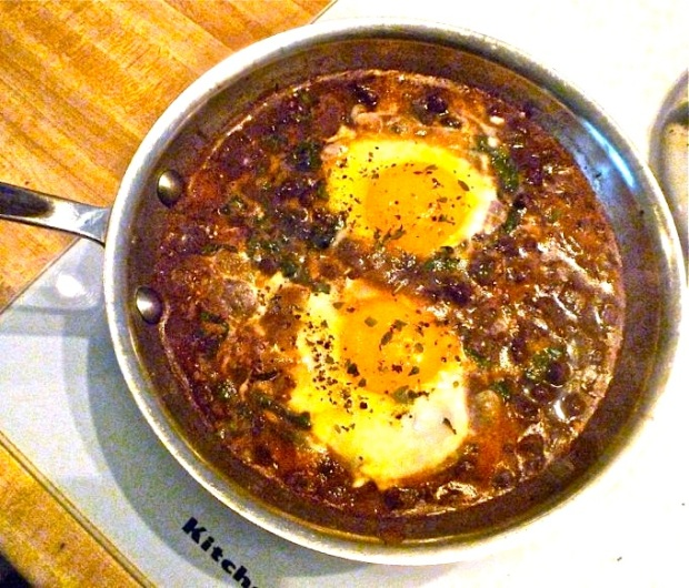 Black beans and poached eggs