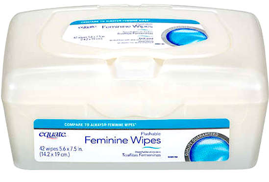 equate feminine wipes