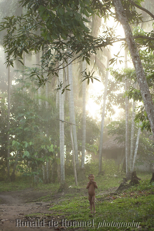 Yanomami boy, early morning light