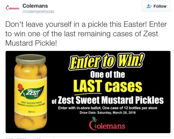 Coleman's ZEST contest