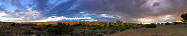 Stormy panorama sunrise
